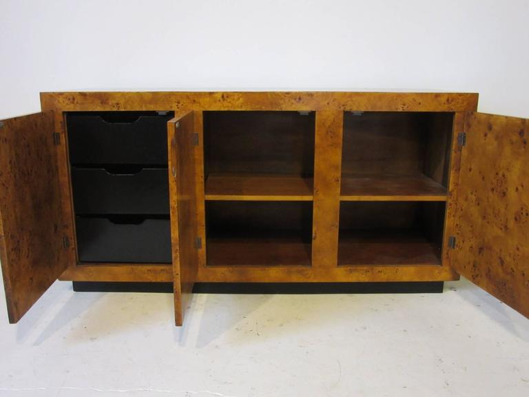 Burl Wood Credenza Cabinet In The Style Of Milo Baughman 2