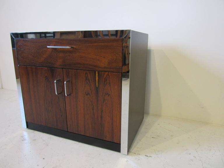 Modern Rosewood and Chrome Nightstand in the Manner of Milo Baughman For Sale