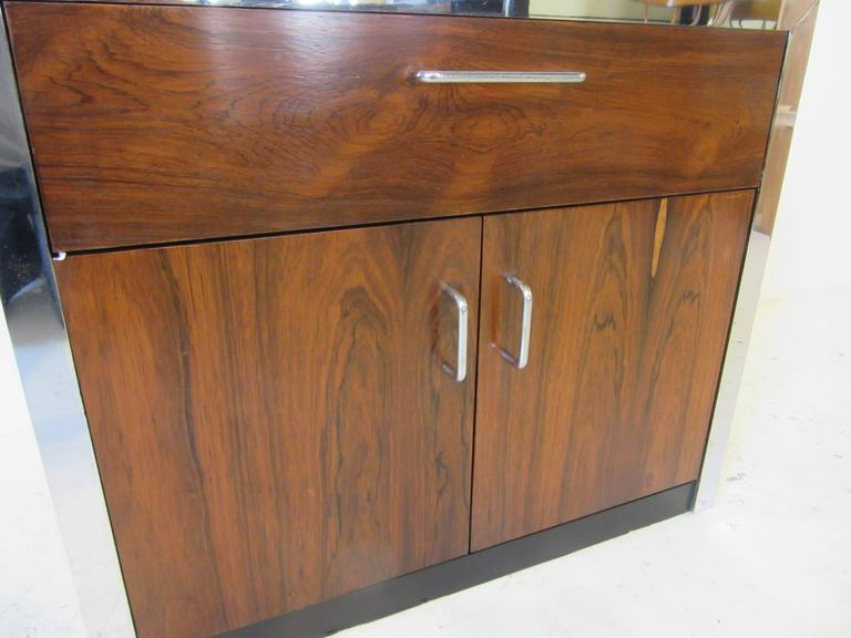 20th Century Rosewood and Chrome Nightstand in the Manner of Milo Baughman For Sale