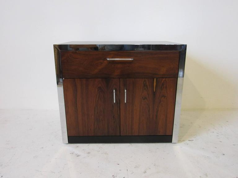 Rosewood and Chrome Nightstand in the Manner of Milo Baughman For Sale 1