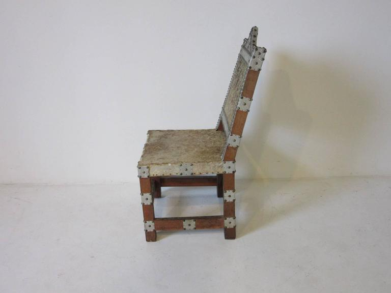 An African Royal Or Prince Chair With Wood Frame, Animal Skin Seat And Back  Embellished