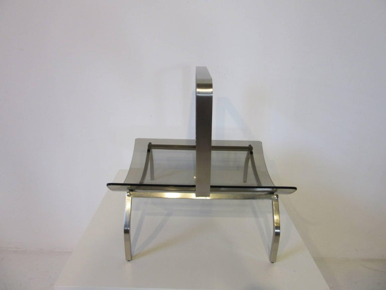 Modern Fontana Arte Stainless and Glass Magazine Rack For Sale