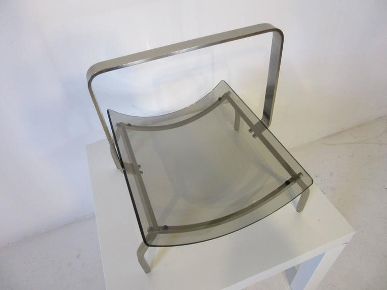 Italian Fontana Arte Stainless and Glass Magazine Rack For Sale