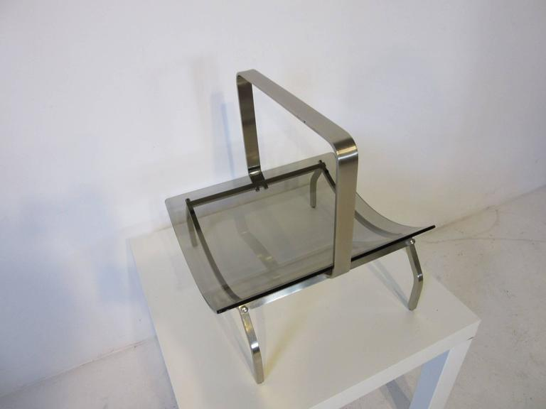 20th Century Fontana Arte Stainless and Glass Magazine Rack For Sale
