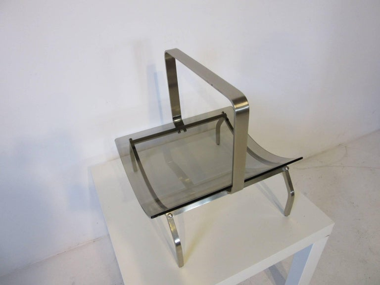 Fontana Arte Stainless and Glass Magazine Rack 6