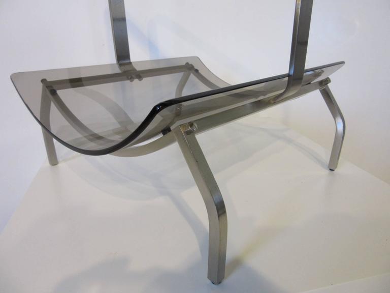 Fontana Arte Stainless and Glass Magazine Rack For Sale 1