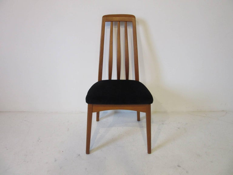 Danish Teak Wood High Back Upholstered Dining Chairs For ...