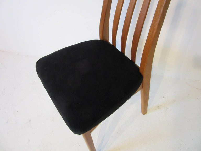 Danish Teak Wood High Back Upholstered Dining Chairs For