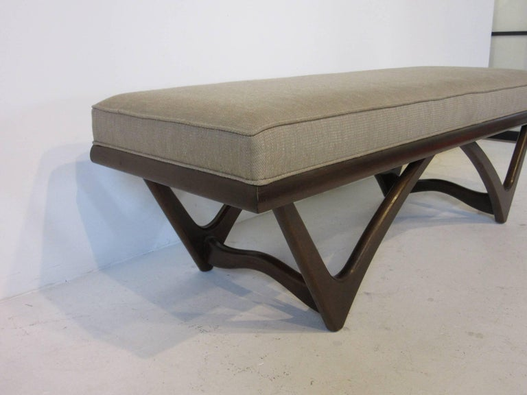 Mid-Century Modern Adrian Pearsall Styled Sculptural Wood Upholstered Bench For Sale