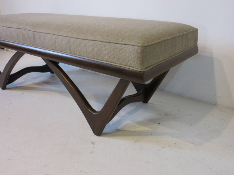 American Adrian Pearsall Styled Sculptural Wood Upholstered Bench For Sale