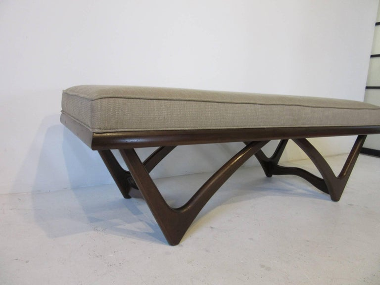 20th Century Adrian Pearsall Styled Sculptural Wood Upholstered Bench For Sale