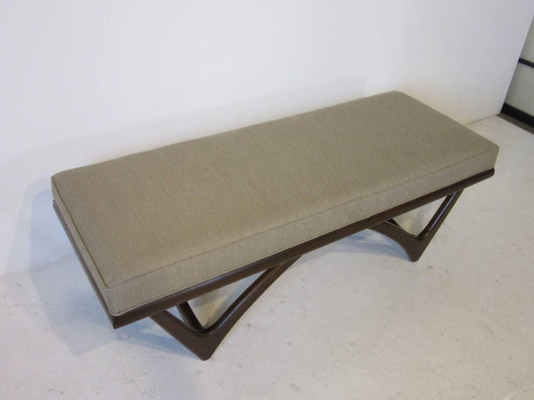 Upholstery Adrian Pearsall Styled Sculptural Wood Upholstered Bench For Sale
