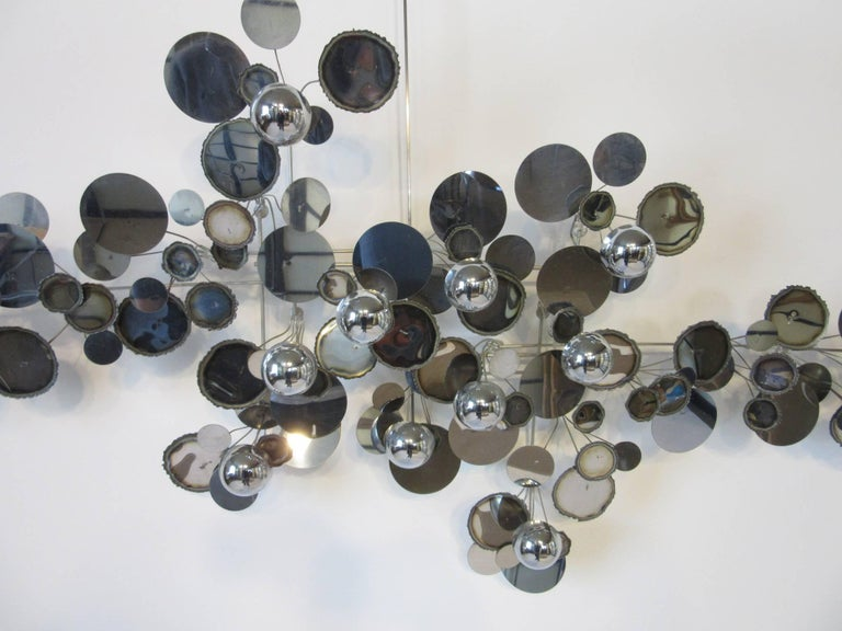 American Curtis Jere Raindrop Metal Wall Sculpture For Sale