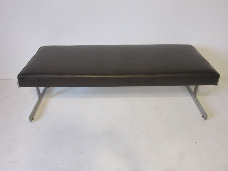 Mid-Century Modern Leather Padded Stainless Steel Bench in the Style of Poul Kjaerholm For Sale