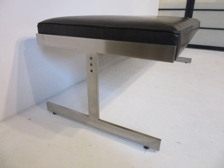 American Leather Padded Stainless Steel Bench in the Style of Poul Kjaerholm For Sale
