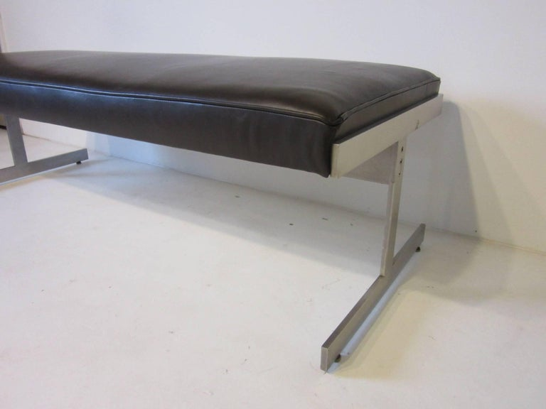 Leather Padded Stainless Steel Bench in the Style of Poul Kjaerholm In Good Condition For Sale In Cincinnati, OH