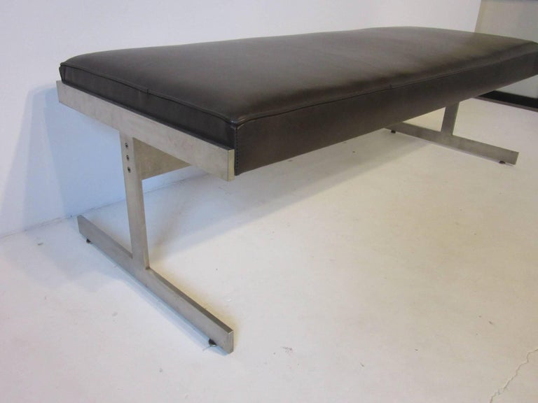 Leather Padded Stainless Steel Bench in the Style of Poul Kjaerholm For Sale 1