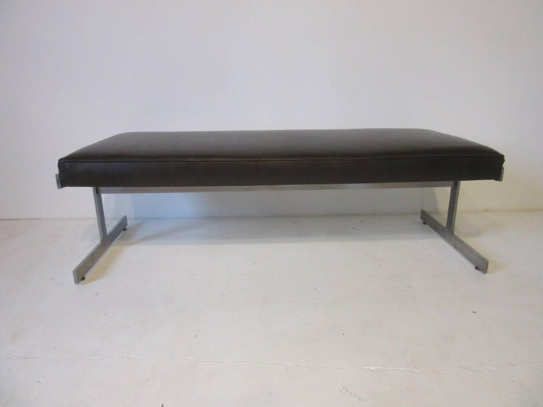 Leather Padded Stainless Steel Bench in the Style of Poul Kjaerholm For Sale 2