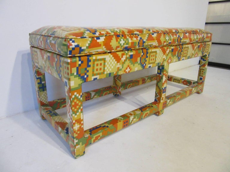 Modern Upholstered Bench in the Manner of Karl Springer and Steve Chase For Sale