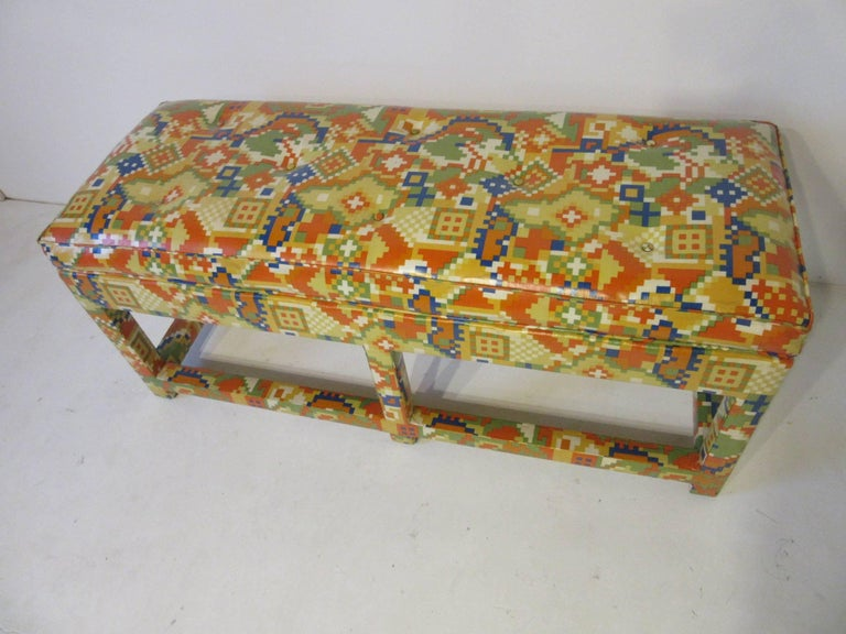 20th Century Upholstered Bench in the Manner of Karl Springer and Steve Chase For Sale