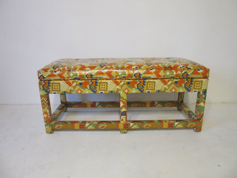 Upholstery Upholstered Bench in the Manner of Karl Springer and Steve Chase For Sale