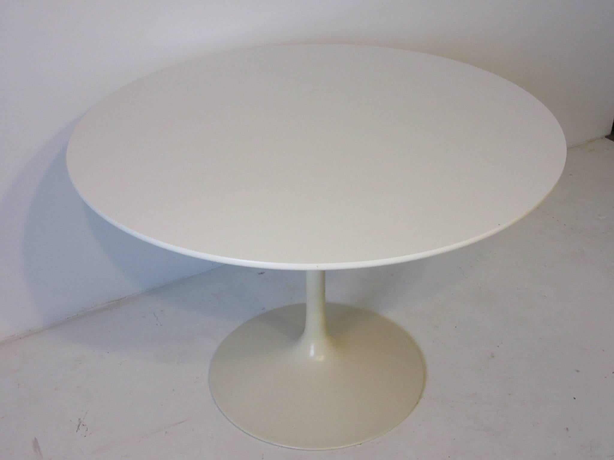 A White Laminate Topped Tulip Table With Matching Metal Base Manufactured  By The Burke Furniture Company