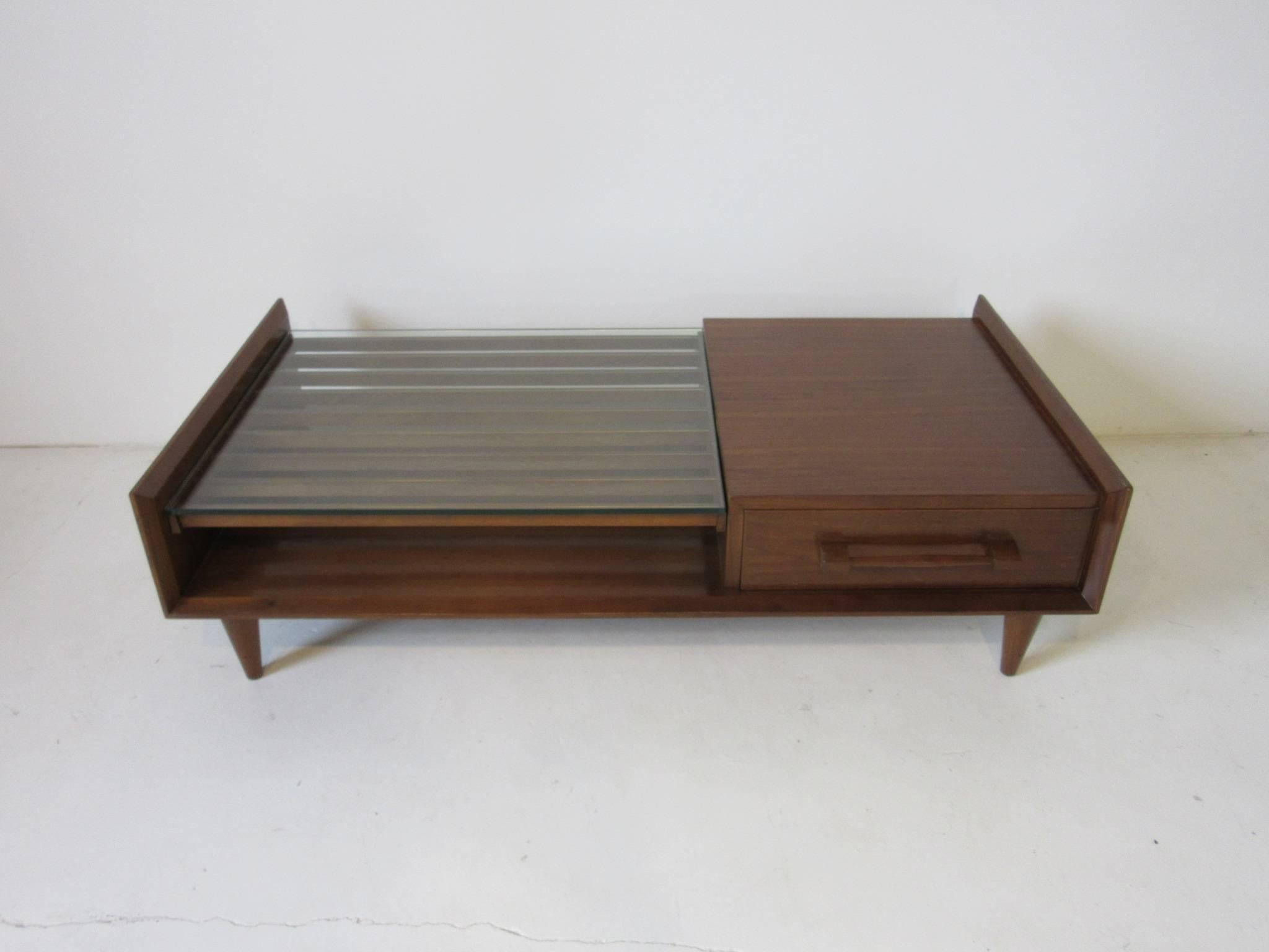 A Rich Dark Walnut Coffee Table With Single Drawer, Conical Legs And A  Interesting Open
