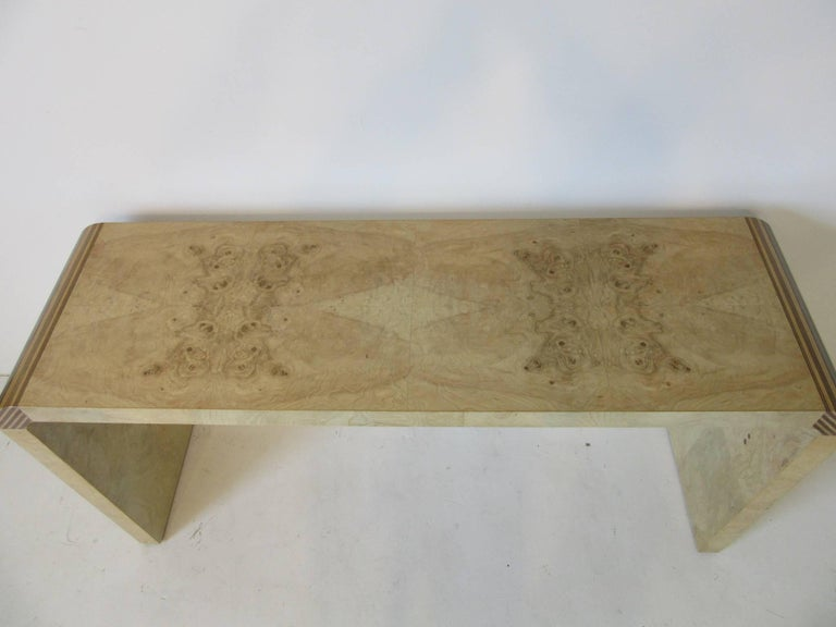 American Henredon Scene Two Burl Wood Console Table or Small Desk For Sale