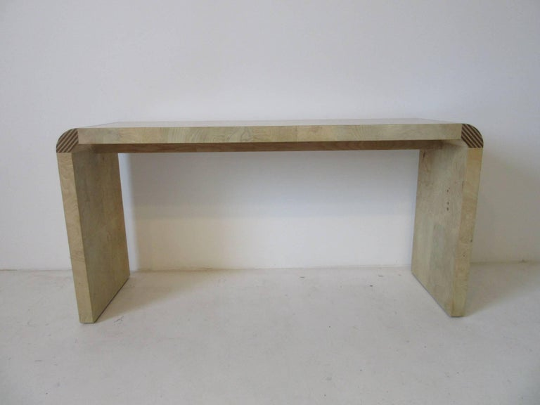 20th Century Henredon Scene Two Burl Wood Console Table or Small Desk For Sale