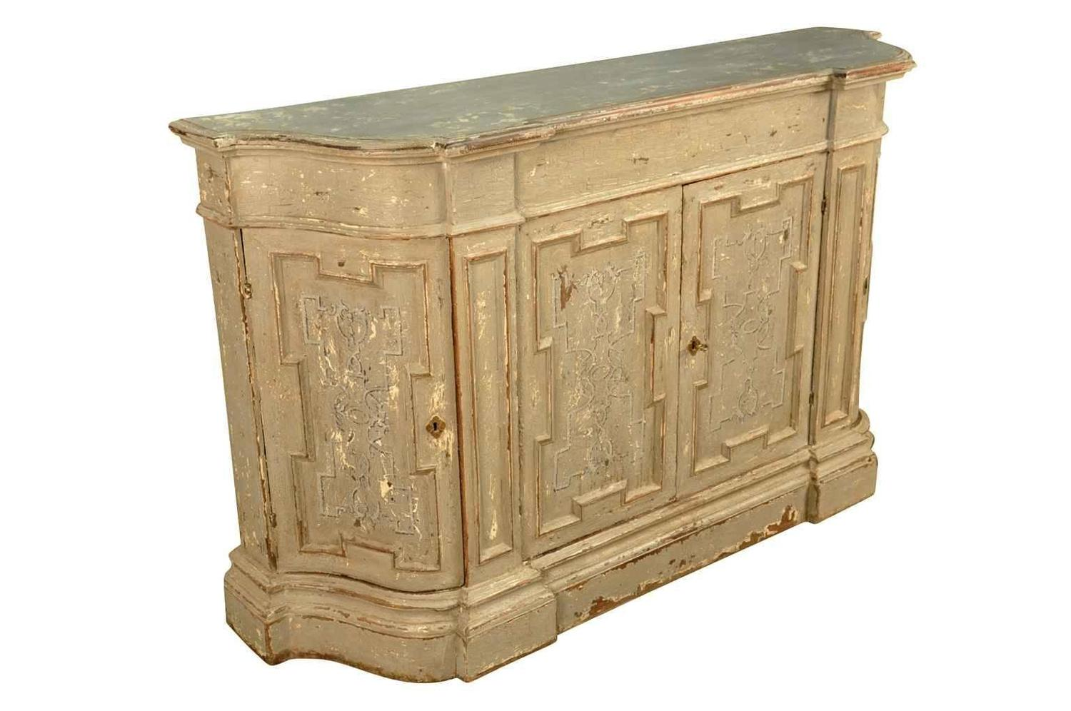 Italian 19th Century Credenza In Painted Wood At 1stdibs