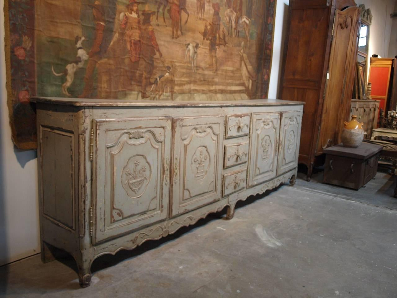 Provencal Long Enfilade Buffet In Painted Wood For Sale At 1stdibs. Full resolution  portrait, nominally Width 1280 Height 960 pixels, portrait with #B33718.