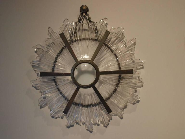 Stunning french art deco sunburst sconce applique in bronze and