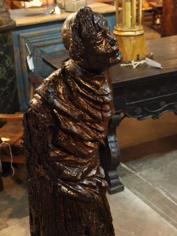 Carved Italian 17th Century Santos Sculpture in Wood For Sale