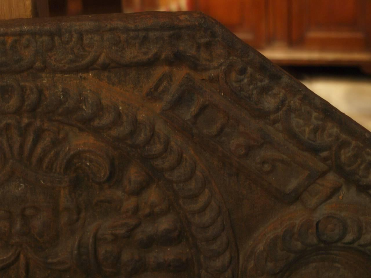 16th century french fireback in cast iron at 1stdibs - Firebacks for fireplaces ...
