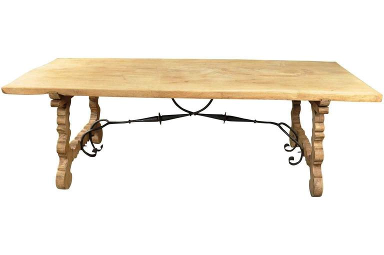 Spanish 19th Century Farm Table, Trestle Table in Bleached Oak In Good Condition For Sale In Atlanta, GA