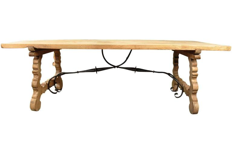 Spanish 19th Century Farm Table, Trestle Table in Bleached Oak For Sale 1