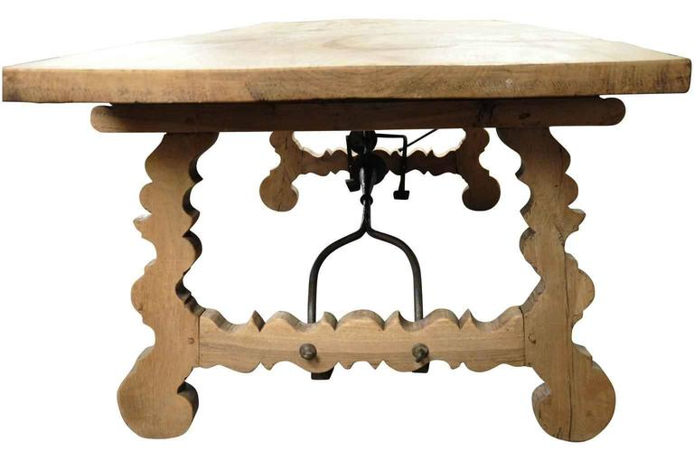 Spanish 19th Century Farm Table, Trestle Table in Bleached Oak For Sale 2