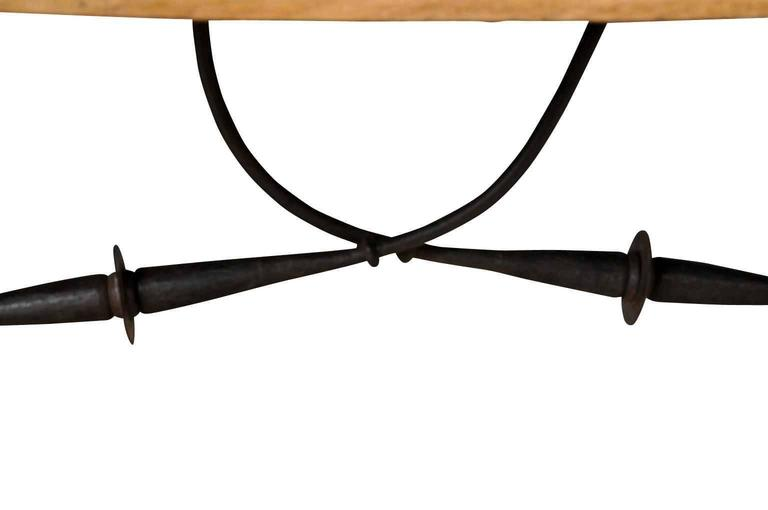 Spanish 19th Century Farm Table, Trestle Table in Bleached Oak For Sale 4