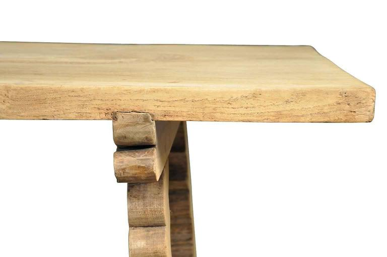 Spanish 19th Century Farm Table, Trestle Table in Bleached Oak For Sale 5
