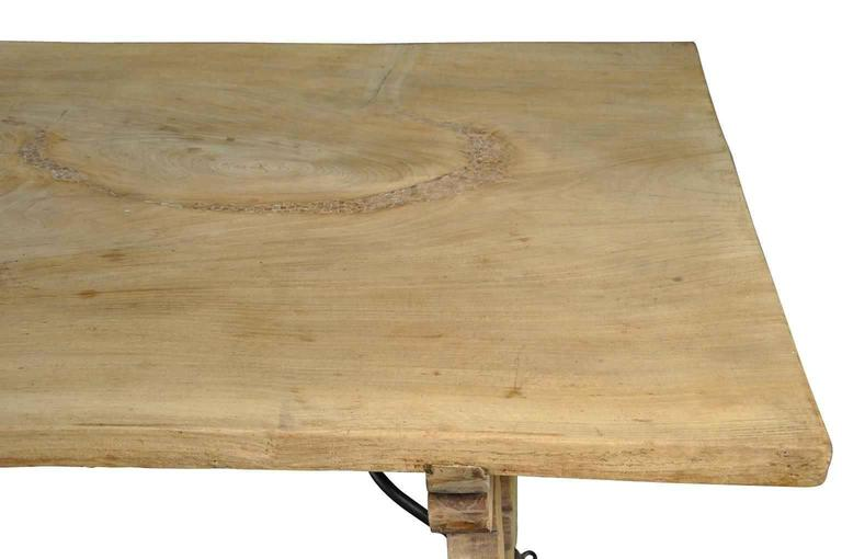 Spanish 19th Century Farm Table, Trestle Table in Bleached Oak For Sale 6