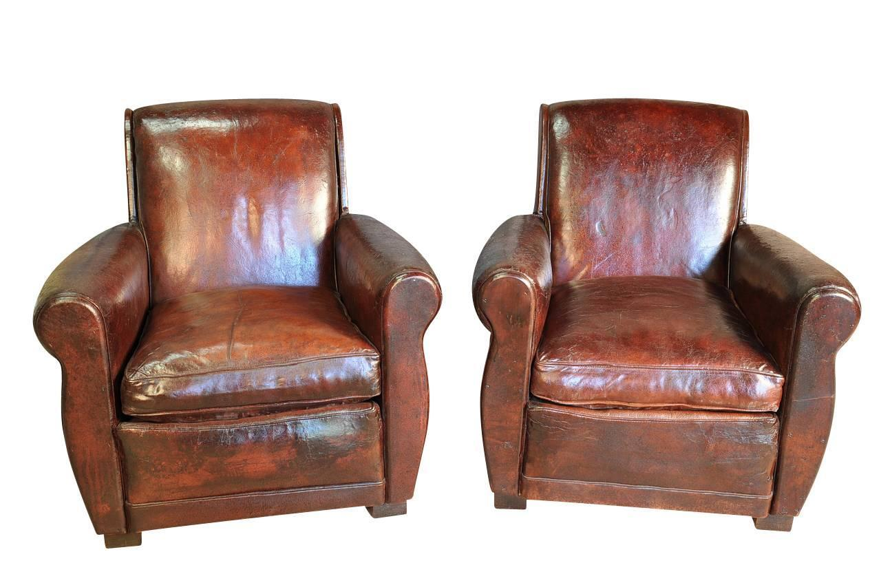 pair of french art deco leather club chairs for sale at 1stdibs. Black Bedroom Furniture Sets. Home Design Ideas