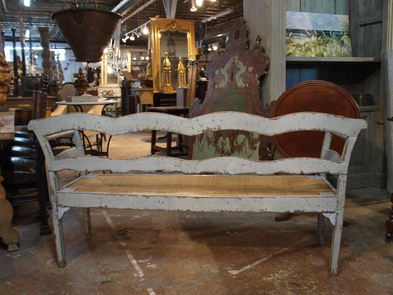 Spanish 19th Century Bench In Painted Wood At 1stdibs