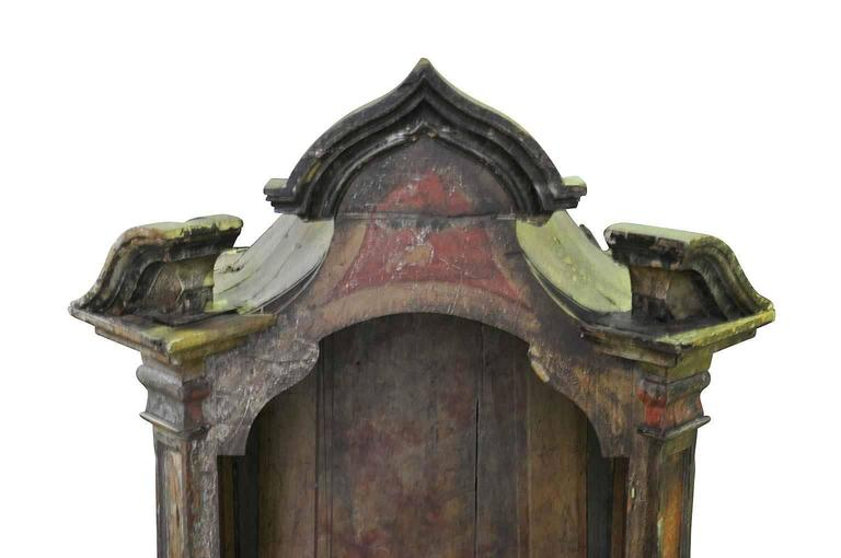 Wood 18th Century Spanish Polychromed Tabernacle, Niche For Sale