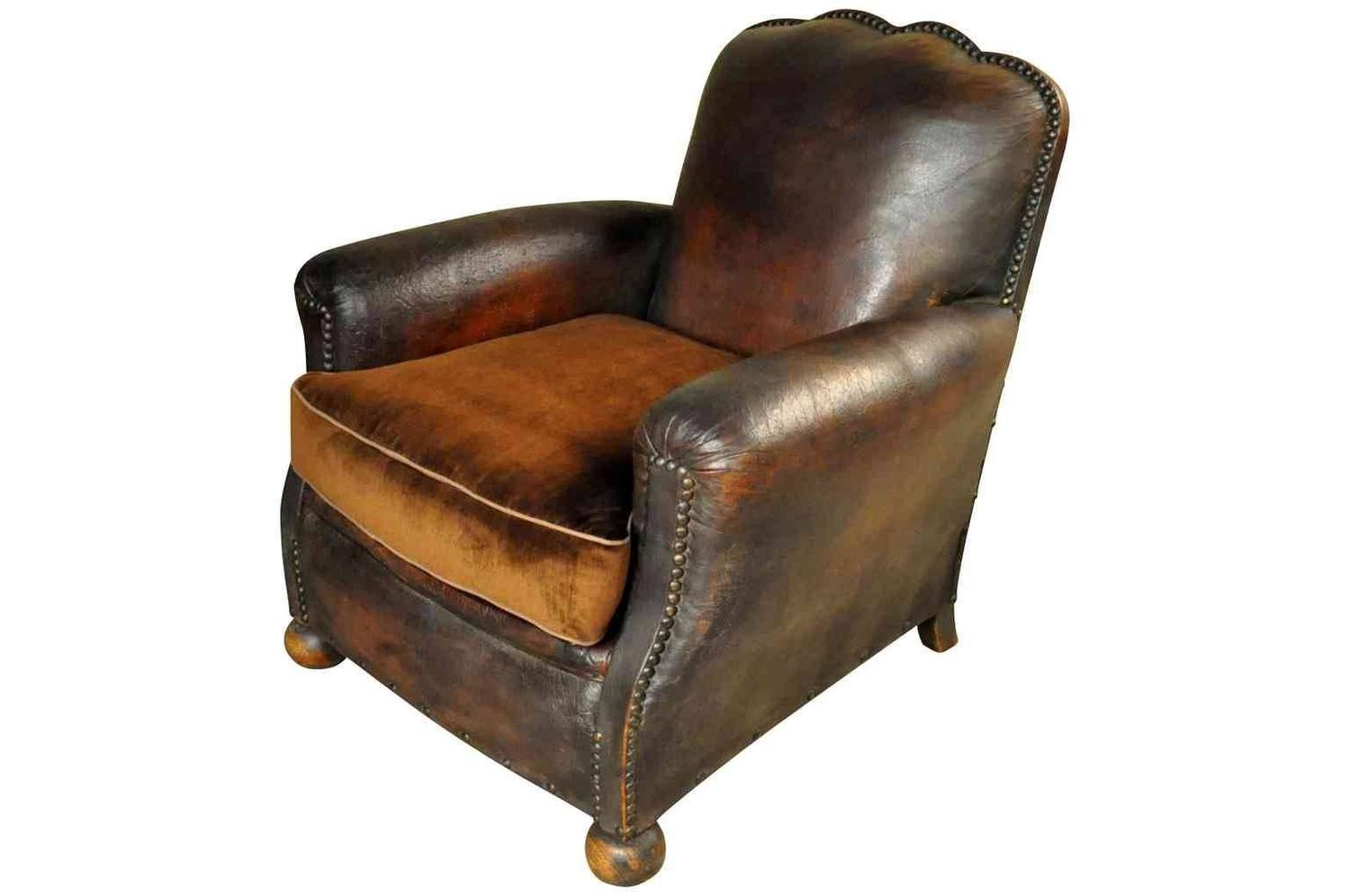 Pair Of French Art Deco Period Club Chairs At 1stdibs