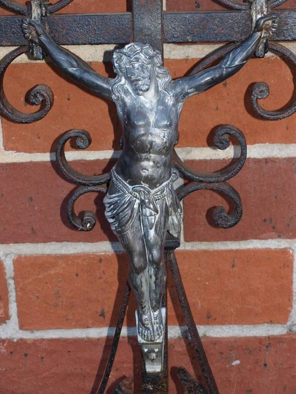 Iron French 19th Century Garden Crucifix For Sale
