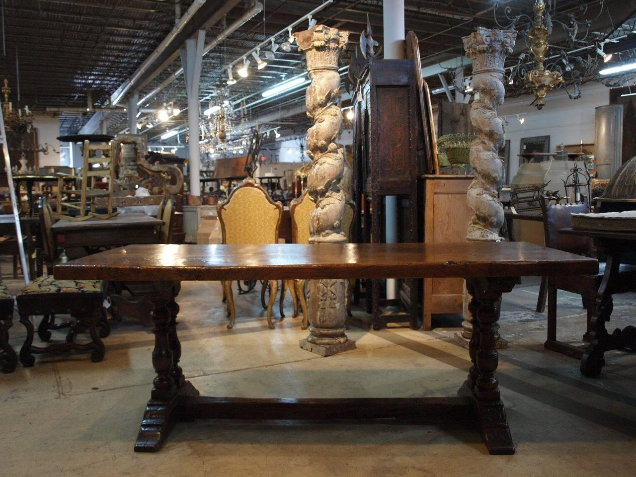 French 19th Century Farm Table Trestle Table At 1stdibs