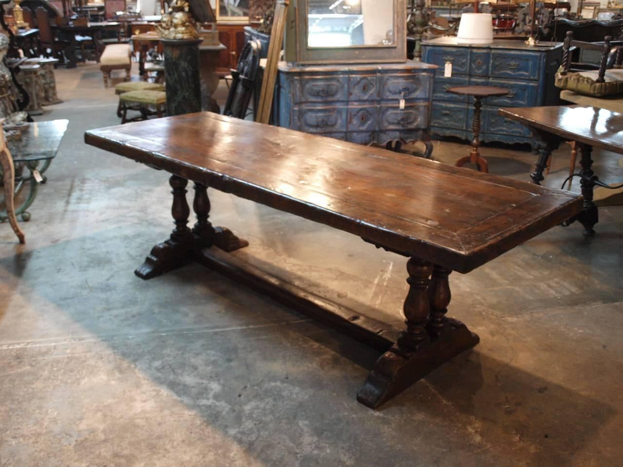 French 19th Century Baluster Leg Farm Table, Trestle Table For Sale at 1stdibs