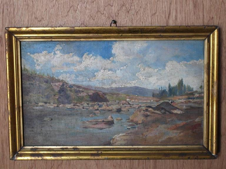 A delightful and very charming later 19th century oil on canvas landscape painting of the Spanish country side. Wonderful brush work. Housed in a handsome giltwood frame.