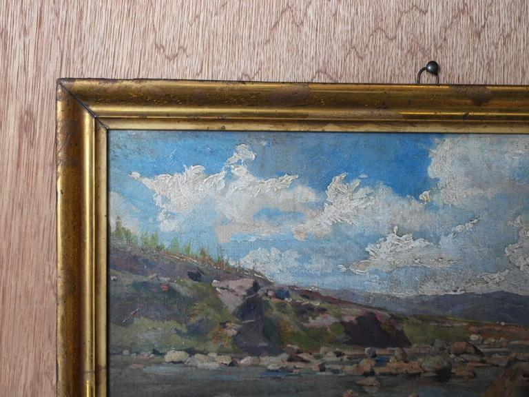 Spanish 19th Century Oil on Canvas Landscape Painting For Sale
