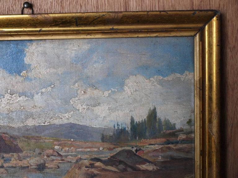 19th Century Oil on Canvas Landscape Painting In Good Condition For Sale In Atlanta, GA